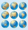 globe set with borders countries vector image vector image