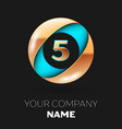 golden number five logo in blue-golden circle vector image vector image
