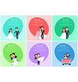 groom and bride romantic postcard wedding vector image
