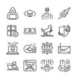 hacker icon set vector image vector image