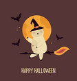 halloween card with funny sloth on a witch broom vector image