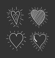 hand drawn hearts icon set love vector image vector image