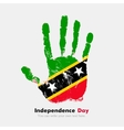 Handprint with the Flag of Saint Kitts and Nevis vector image vector image