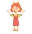 happy caucasian girl standing with raised hands vector image