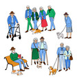 happy senior people walking vector image