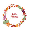 hello autumn inscription written with elegant vector image