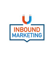 inbound marketing badges with magnet icon on vector image