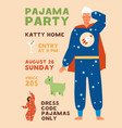 invitation poster for pajama home party vertical vector image vector image