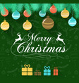 merry christmas on green background with deer and vector image vector image