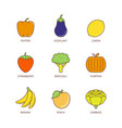 minimal lineart flat fruits and vegetables iconset vector image vector image