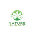 modern negative space circle leafs nature logo vector image
