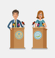 orator speaking from tribune podium press vector image