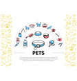 pets colorful line icons template vector image vector image