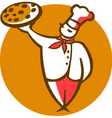 pizza and chef vector image vector image