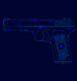 polygonal frame gun with glowing lights side view vector image