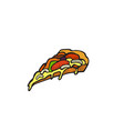 pop art style pizza sticker vector image vector image