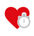 red heart with stopwatch vector image