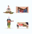 set tramps poor homeless characters needing help vector image