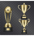 shiny gold trophy cups isolated set vector image vector image