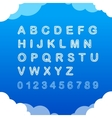 Sketch doodle cloudy font on blue background vector image