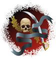 skull on bloody background vector image vector image