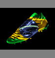 soccer football boot with the flag of brazil vector image