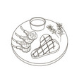steak meat coloring pages vector image vector image