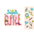 super girl lettering with girly doodles vector image