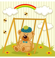 teddy bear on swing vector image vector image