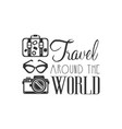 travel around the world logo with traveler vector image vector image