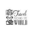 travel around world logo with traveler vector image