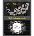 two horizontal cards with human skulls vector image vector image