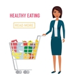 Woman in supermarket with cart full of food vector image vector image