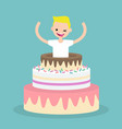 young character jumping out a cake flat vector image