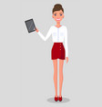 young slender woman stands with tablet female in vector image