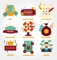 Lottery flat design icon collection vector image