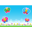 Butterfly family Nature background with green vector image