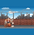 a group of teenagers in urban scene vector image