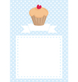Blue and white dots cupcake heart card invitation vector image vector image