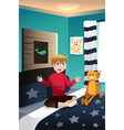 boy talking with his imaginary friend vector image