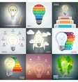 Business infographic template set with lightbulb vector image vector image