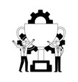 businessmen with trophy and gears work team vector image