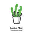 cactus plant outline flat vector image vector image