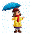 cartoon girl with umbrella standing under the rain vector image