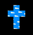 christian cross with white clouds in blue sky vector image vector image