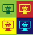 color computer monitor with shopping basket icon vector image vector image