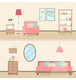 Colorful flat style modern livingroom interior vector image
