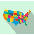 Colorful USA map with states flat icon vector image
