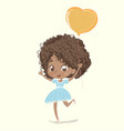 cute african-american happy girl with the balloon vector image vector image