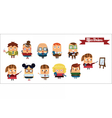 Digital cartoon characters set vector image vector image